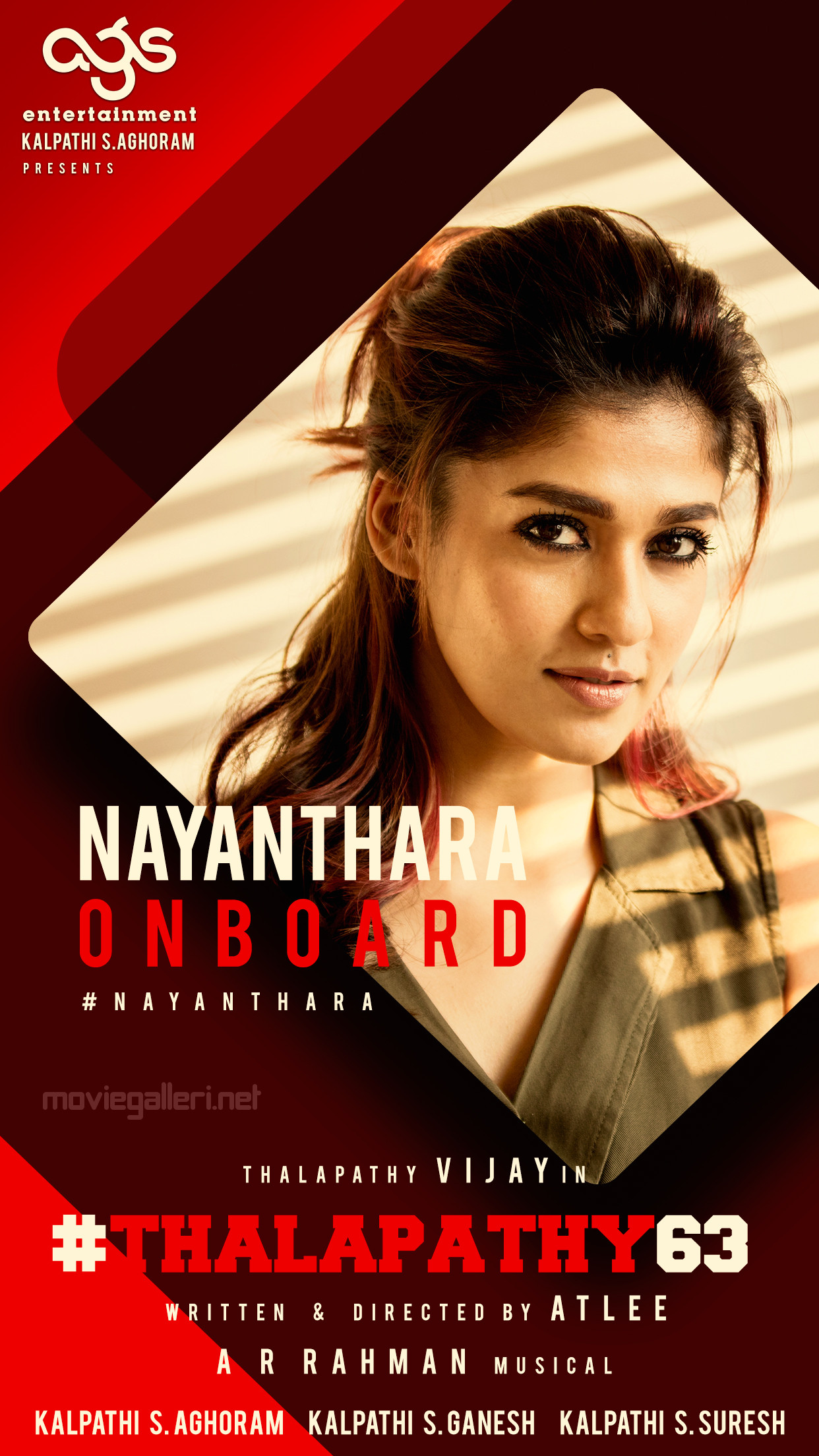 Tamil Actress Nayanthara On Board For Thalapathy Vijay 63 Movie Directed by Atlee, Music by AR Rahman. Produced by AGS Cinemas.