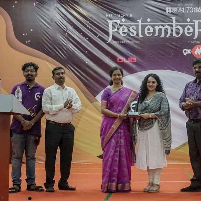 Actress Nithya Menen Stills at NIT Trichy Festember Event Guest Lecture