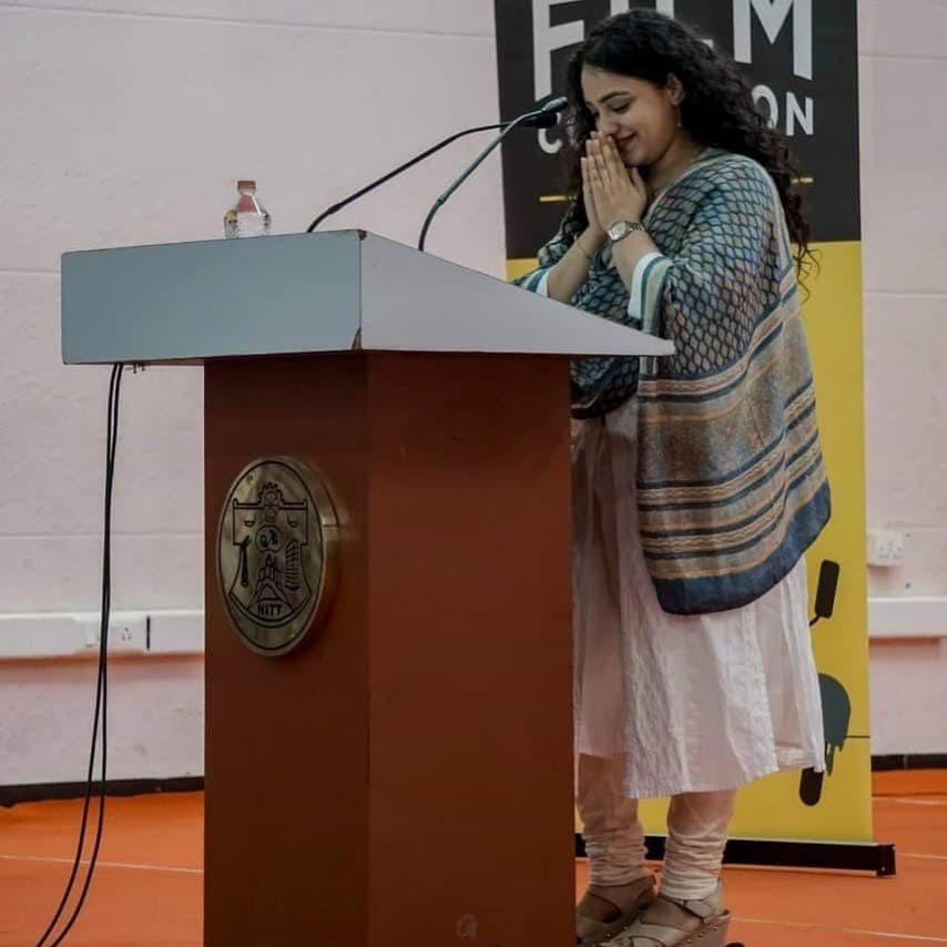 Actress Nithya Menon Stills @ NIT Trichy Festember Guest Lecture