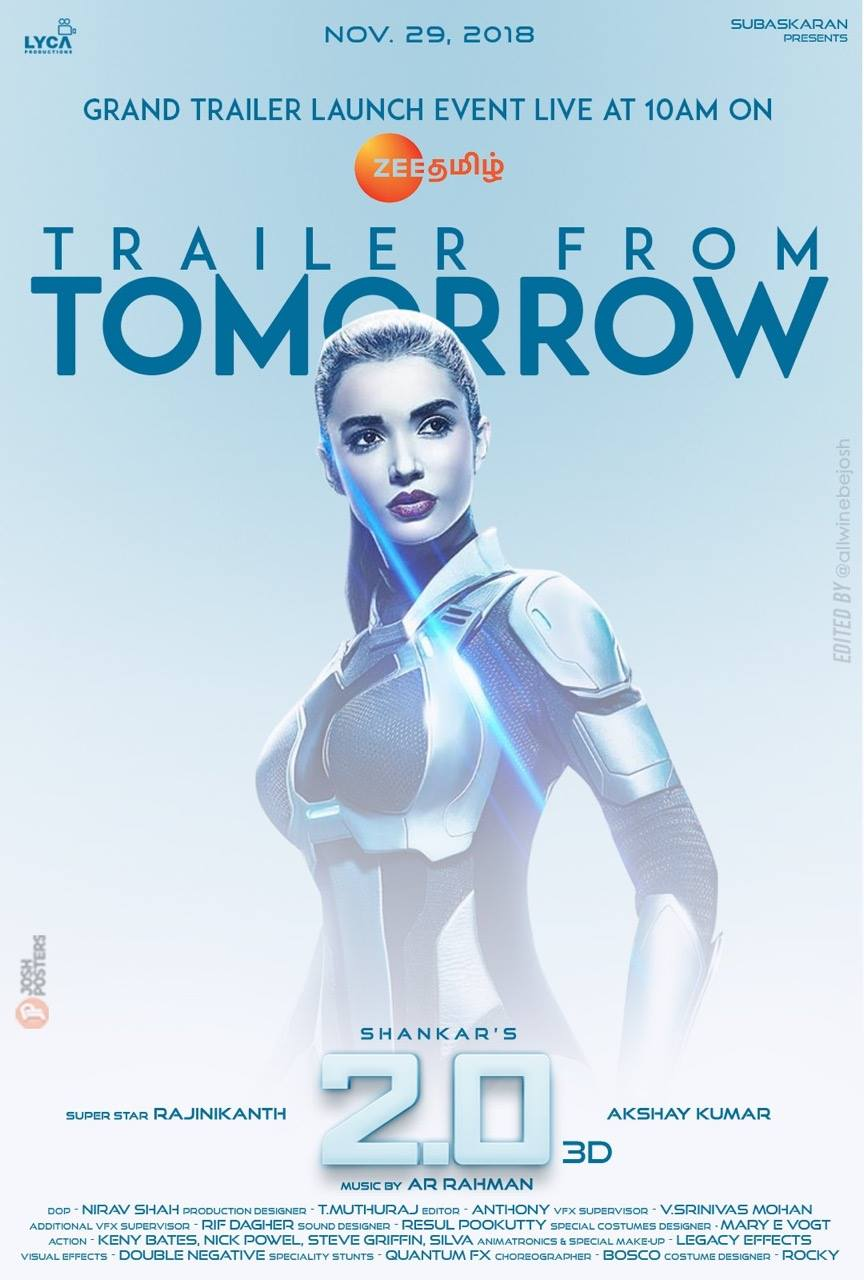 Amy Jackson 2.0 Trailer from Tomorrow Poster