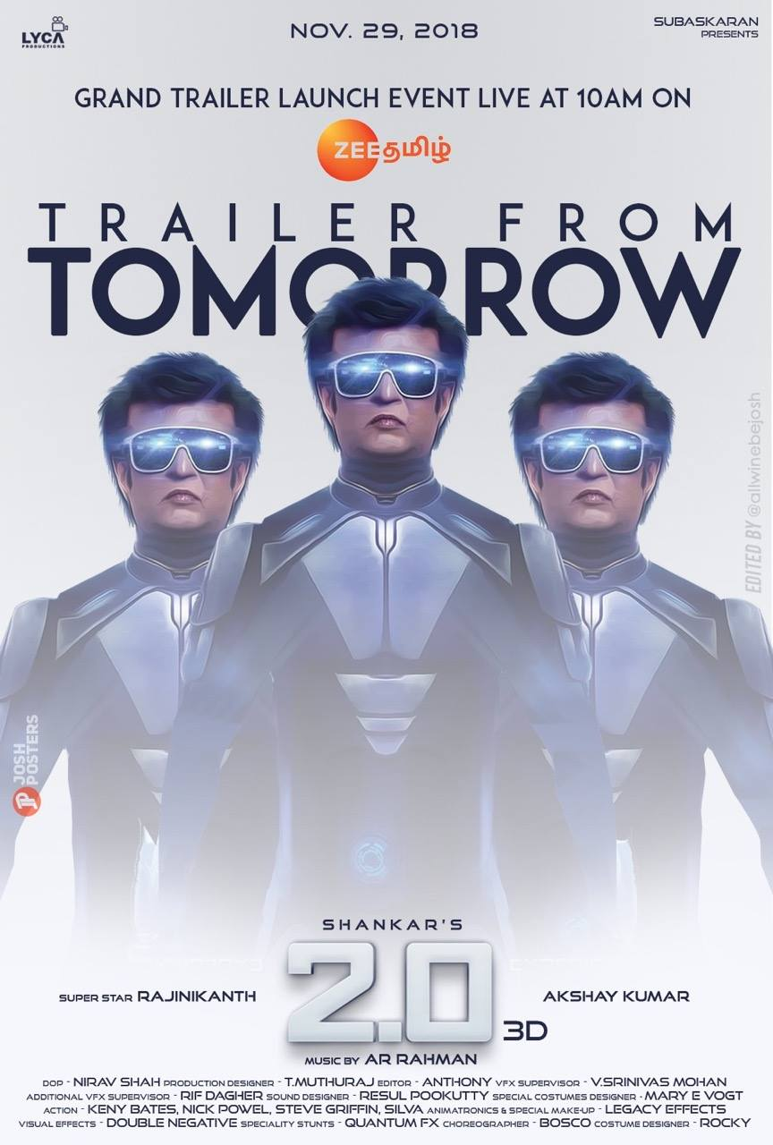 Rajinikanth 2.0 Trailer Release Tomorrow Poster