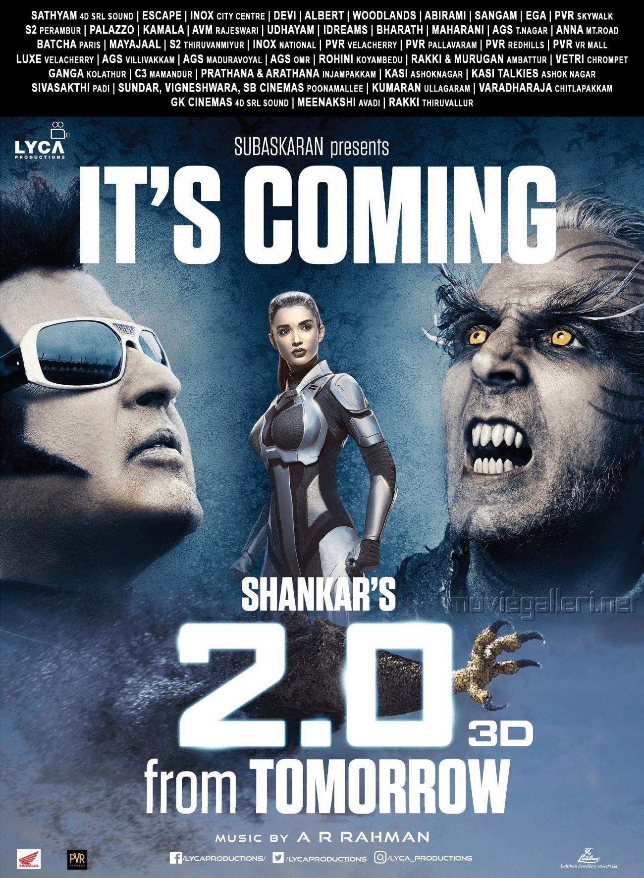 Rajinikanth, Amy Jackson, Akshay Kumar in 2.0 Movie from Tomorrow Poster HD
