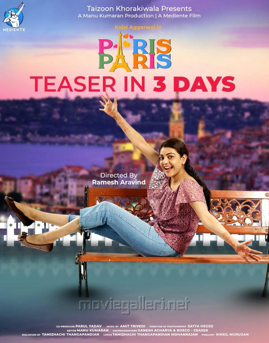Actress Kajal Aggarwal Paris Paris Movie Teaser in 3 Days Poster