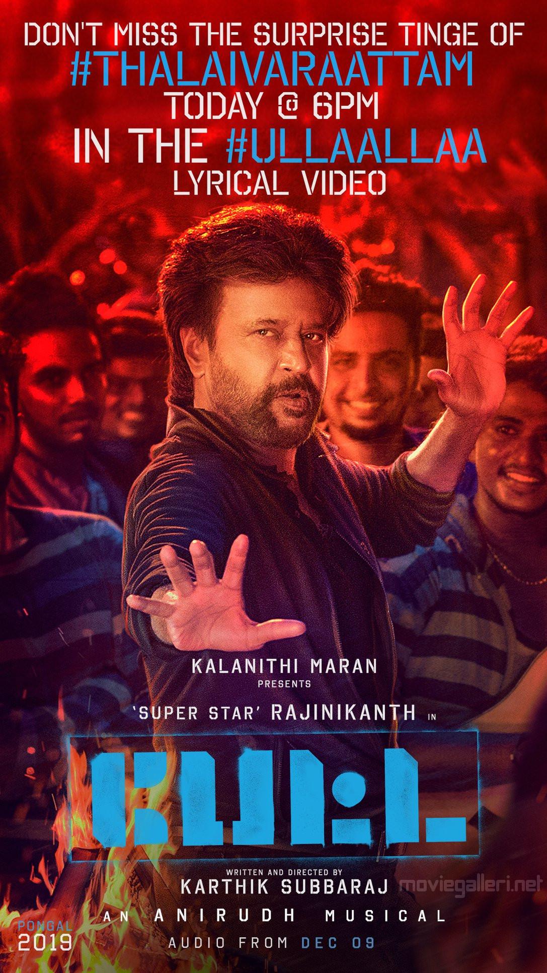 Rajinikanth Petta Movie Second Single Ullaallaa Song Release Today Poster.