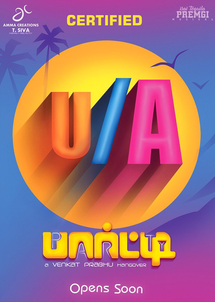 Venkat Prabhu's Party Movie Censor with UA Certificate