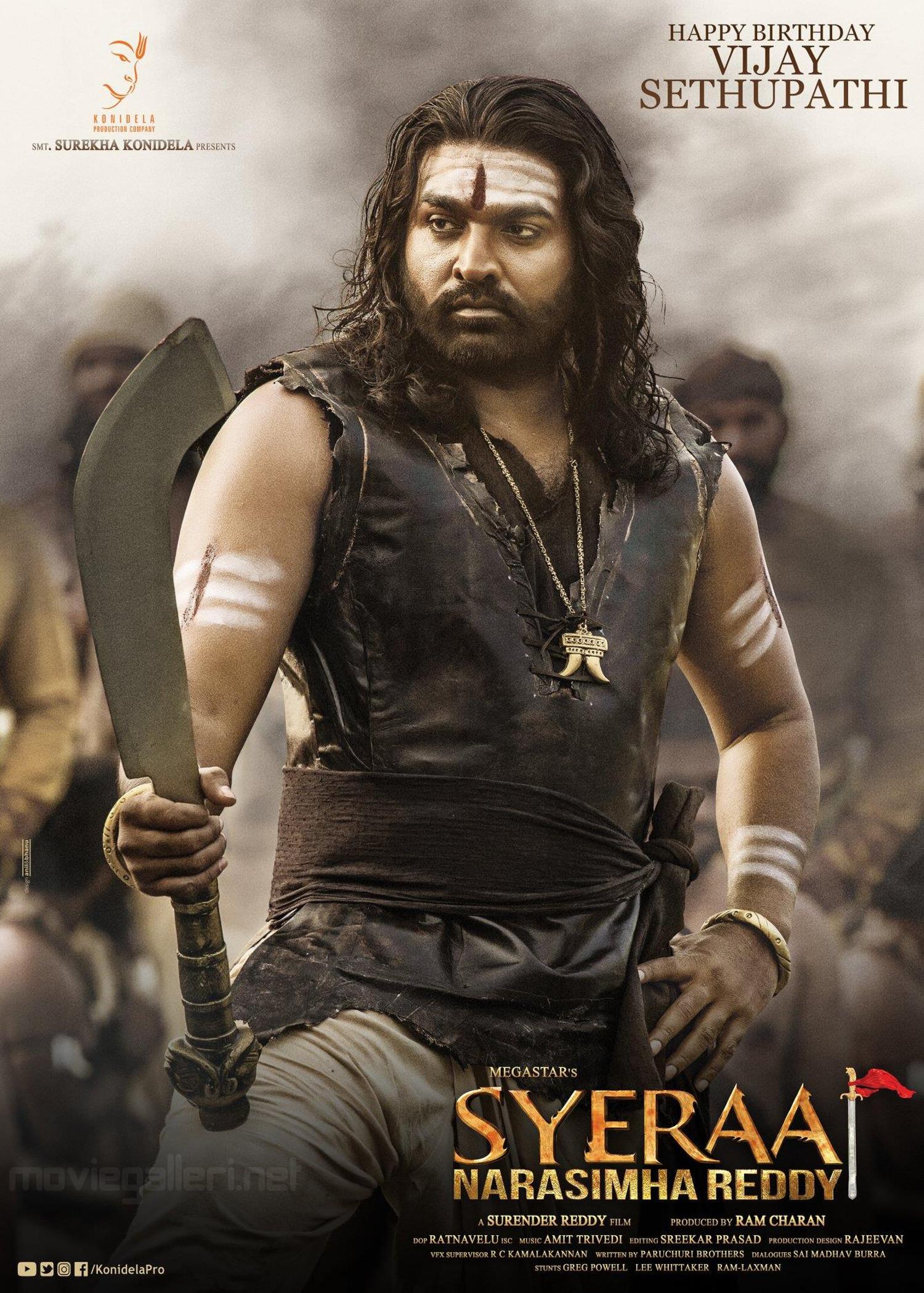 Actor Vijay Sethupathi as Raaja Paandi in Sye Raa NaraSimha Reddy HD Poster