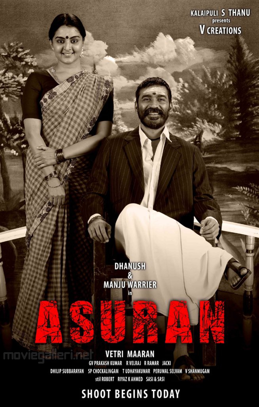 Manju Warrier Dhanush Asuran Movie Shooting Begins Today Poster HD