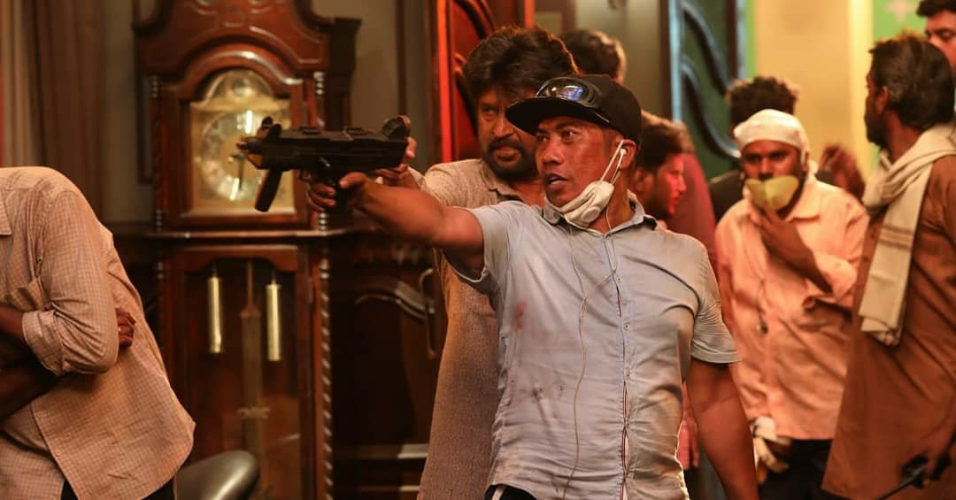 Rajinikanth, Peter Hein @ Petta Movie Fight Working Stills
