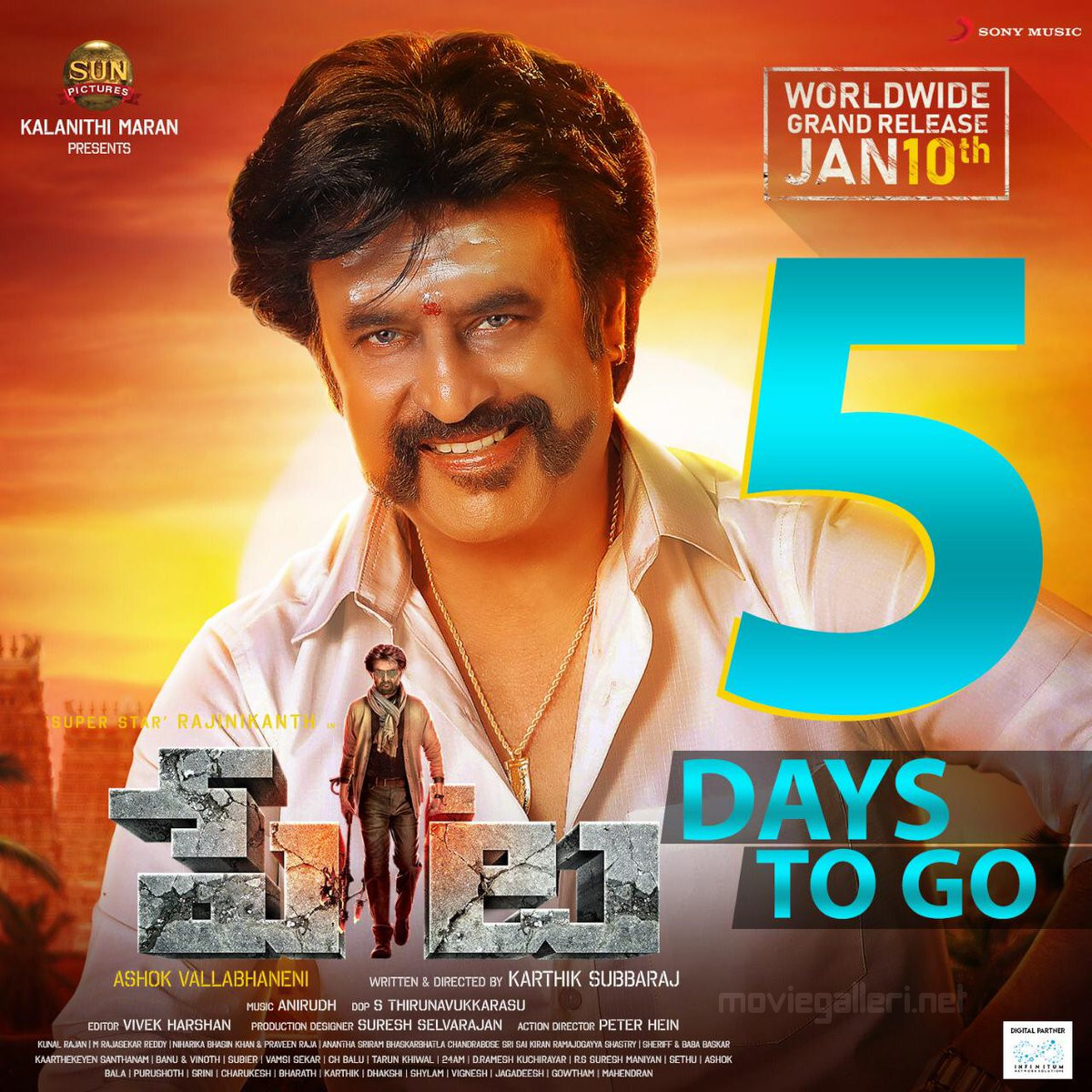 Rajinikanth Petta 5 Days to Go Poster