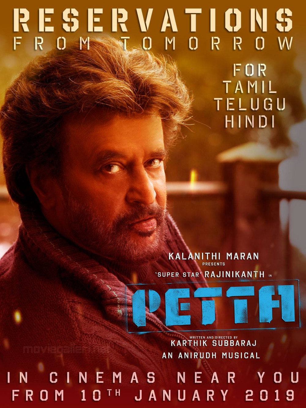 Rajinikanth Petta Movie Reservations from Tomorrow Poster HD