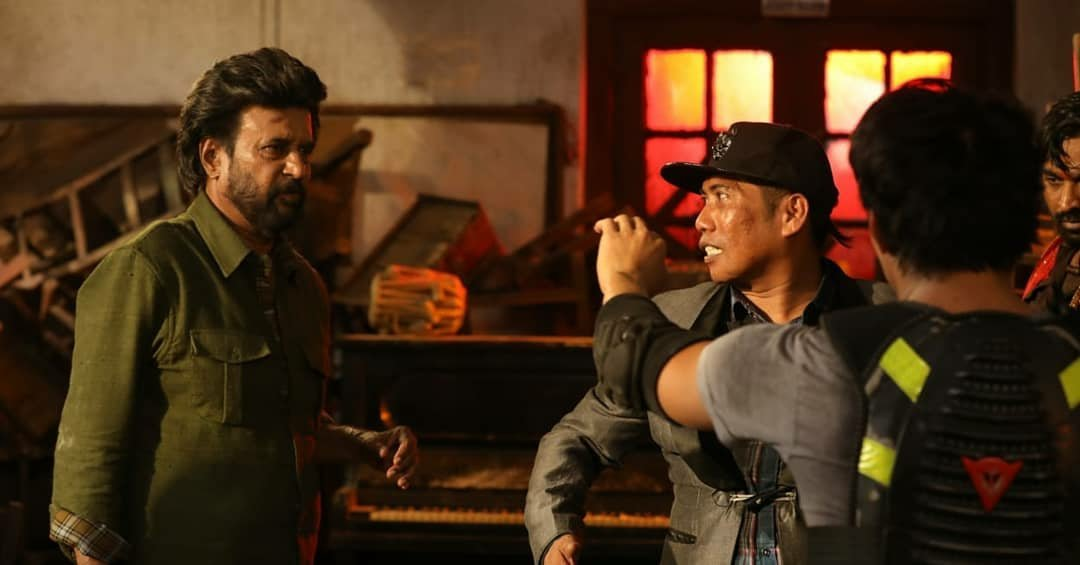 Rajinikanth Petta Working stills with the action director Peter Hein