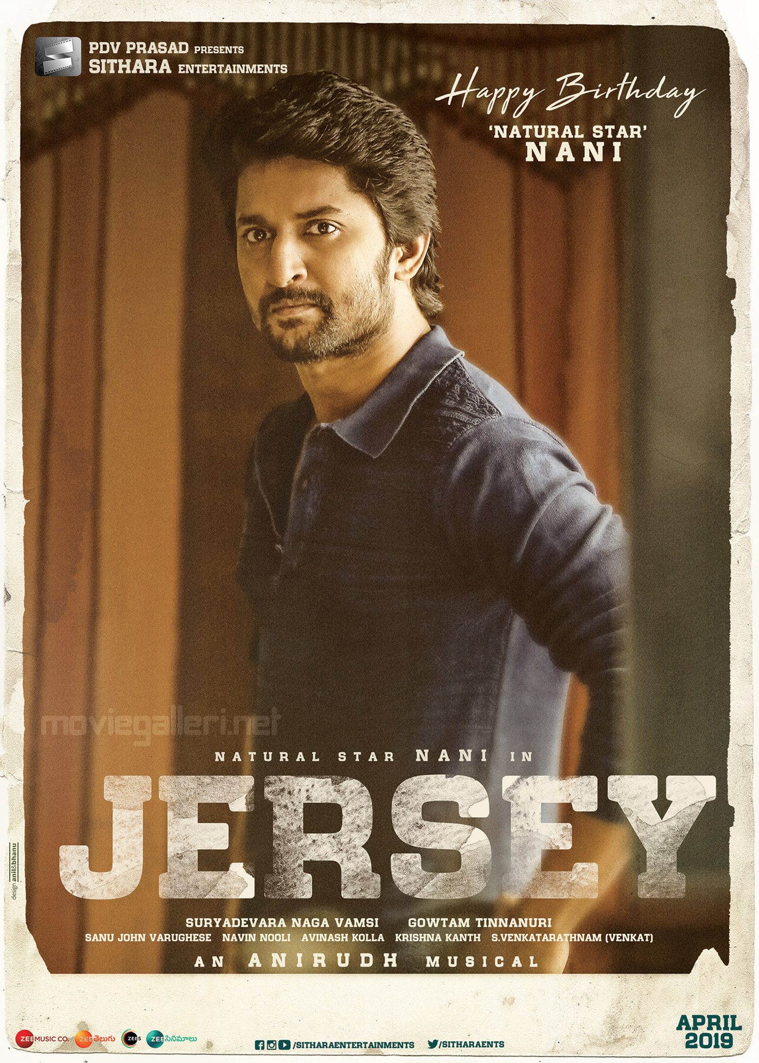 Jersey Movie Actor Nani Birthday Wishes Posters