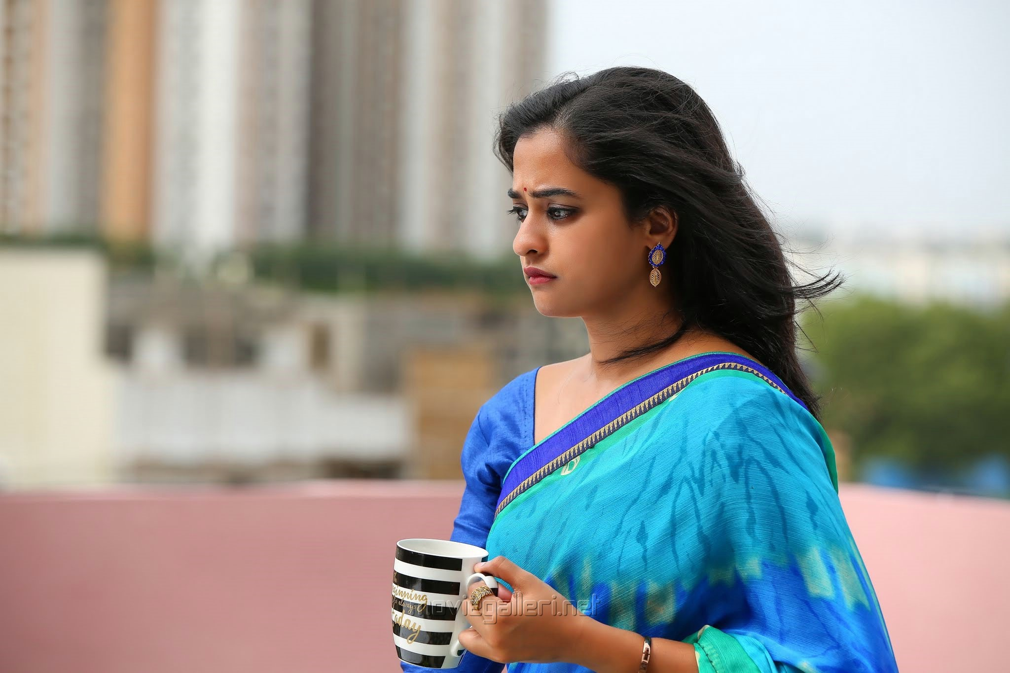 Viswamitra Heroine Nanditha Raj in Blue Saree Photos HD
