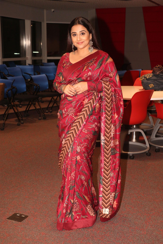 Bollywood Actress Vidya Balan Dark Red Saree Photos @ The ITCH Summit 2019