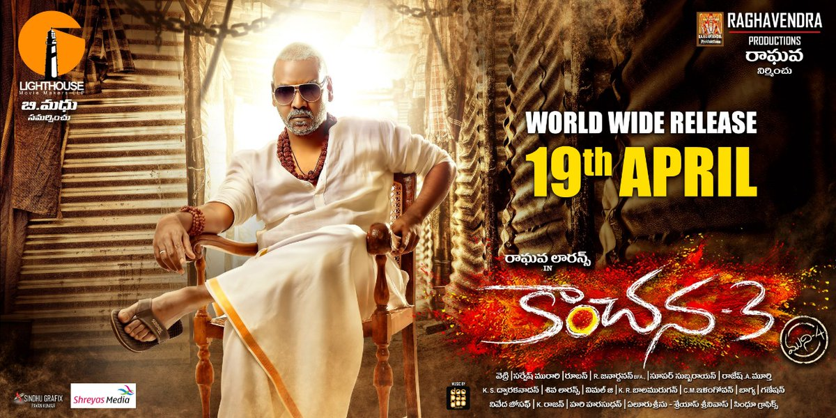 Raghava Lawrence's 'Kanchana-3' will hit the screens on 19th of April worldwide