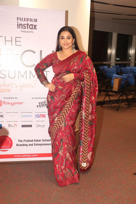 Vidya Balan in Dark Red Saree Photos at The 2019 ITCH Summit organised by Prahlad Kakar