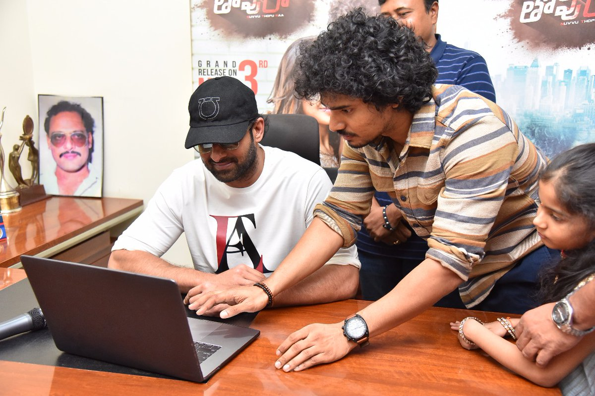 Prabhas & Sudhakar Komakula @ Nuvvu Thopu Raa Movie Trailer Launch Photos