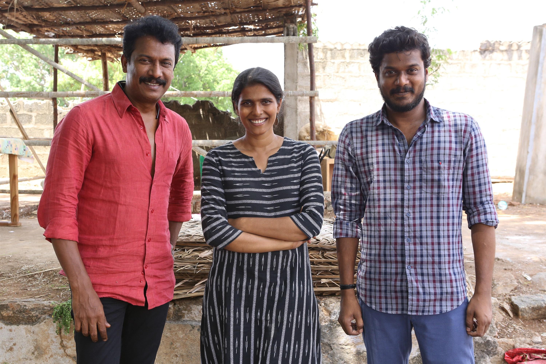 Samuthirakani, Halitha Shameem, Manikandan @ AELAY Movie Pooja Stills