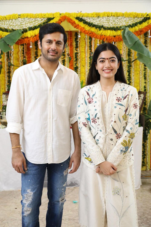 Nithiin & Rashmika Mandanna @ Bheeshma movie launched