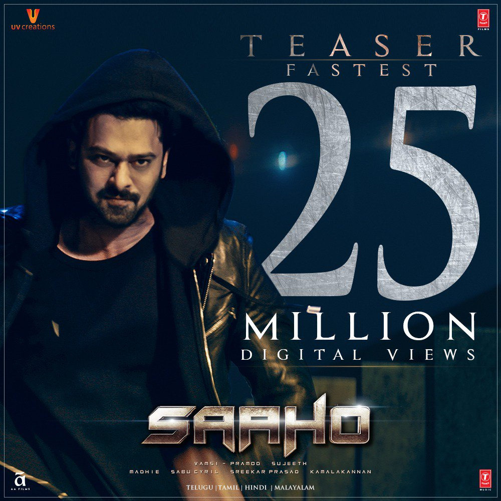 Prabhas Saaho teaser crosses 25 Million Digital Views
