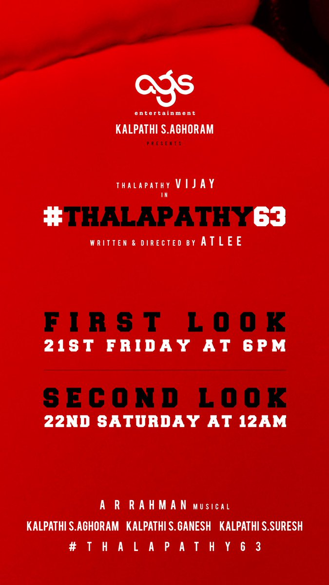 Vijay's Thalapathy63 Movie First Look from June 21st