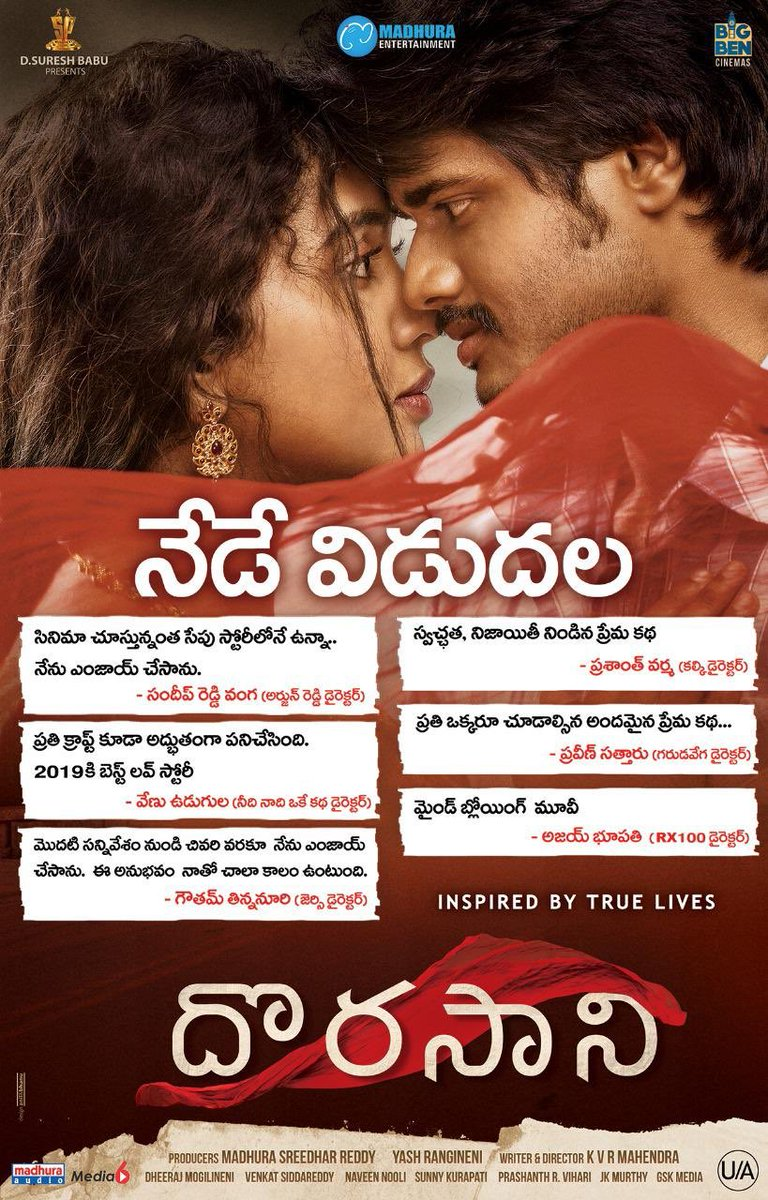 Anand Deverakonda Shivathmika Rajasekhar Dorasaani Movie Release Today Poster