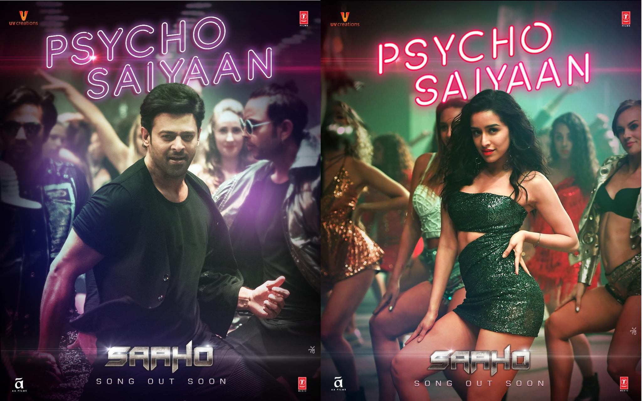 Saaho Movie First Single Psycho Saiyaan Posters