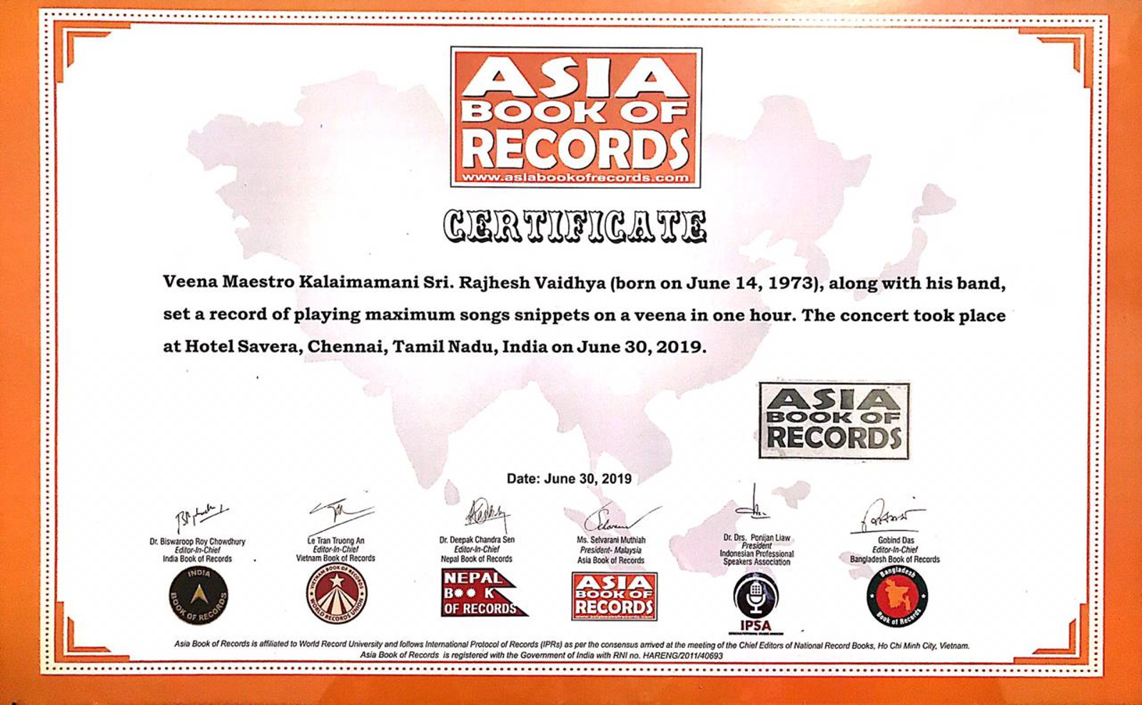 Veena Maestro Kalaimamani Rajhesh Vaidhya enters Asia Books of Records with 60 Song Snippets in Hour Certificate