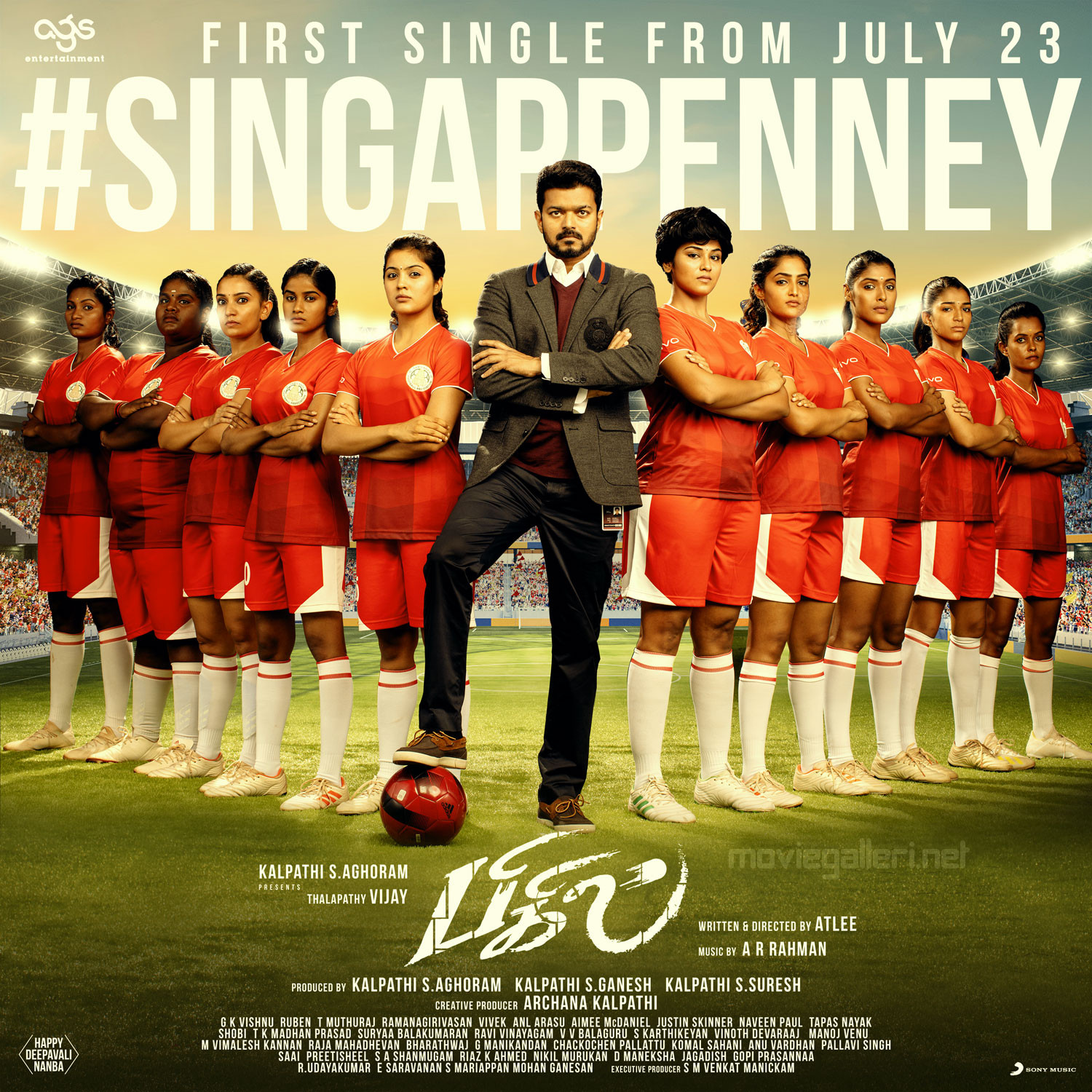 Vijay Bigil Movie Singappenney Single Release from July 23rd Poster HD