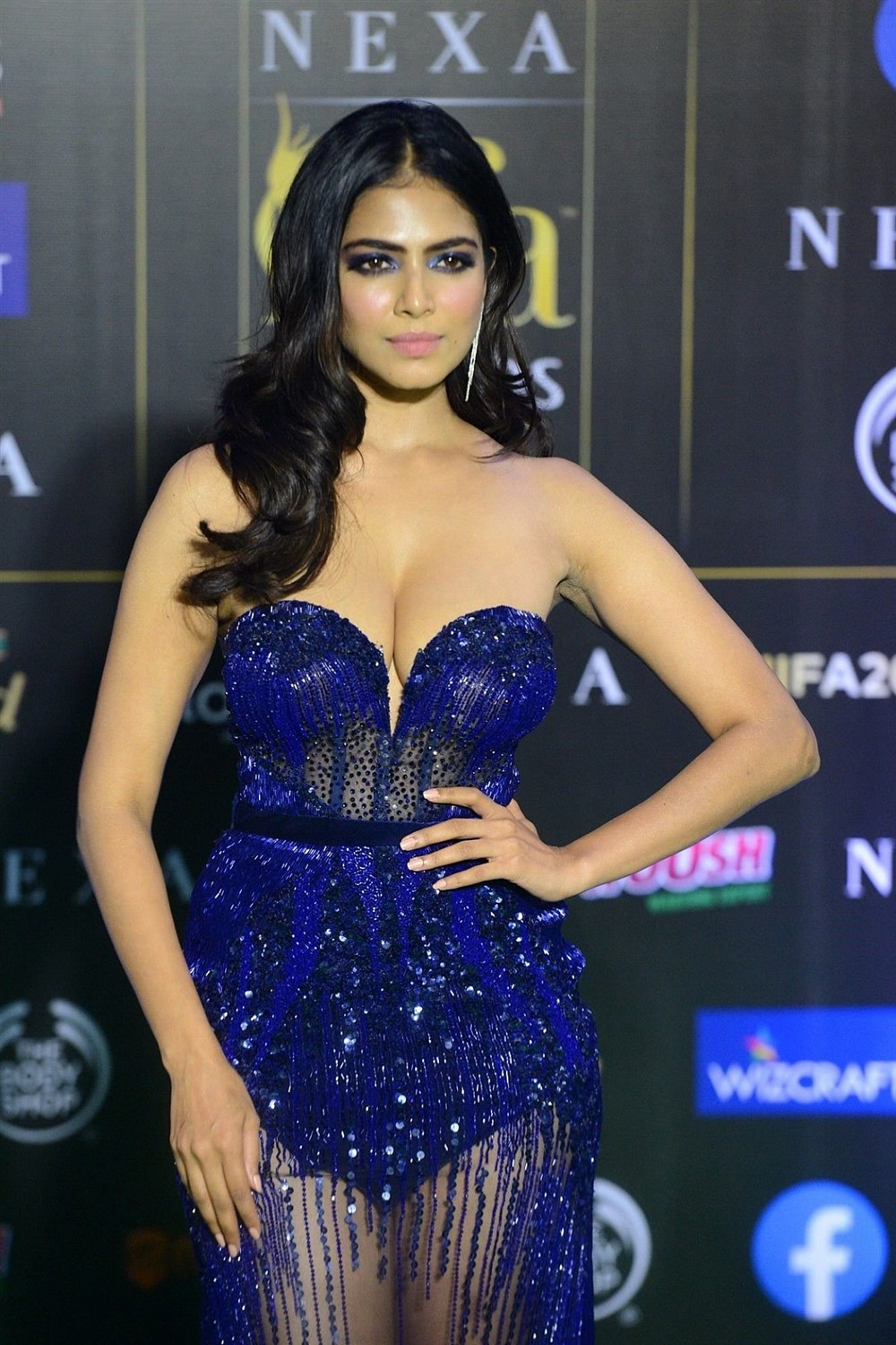 Bollywood Actress Malavika Mohanan Stills at IIFA Rocks 2019 Green Carpet.