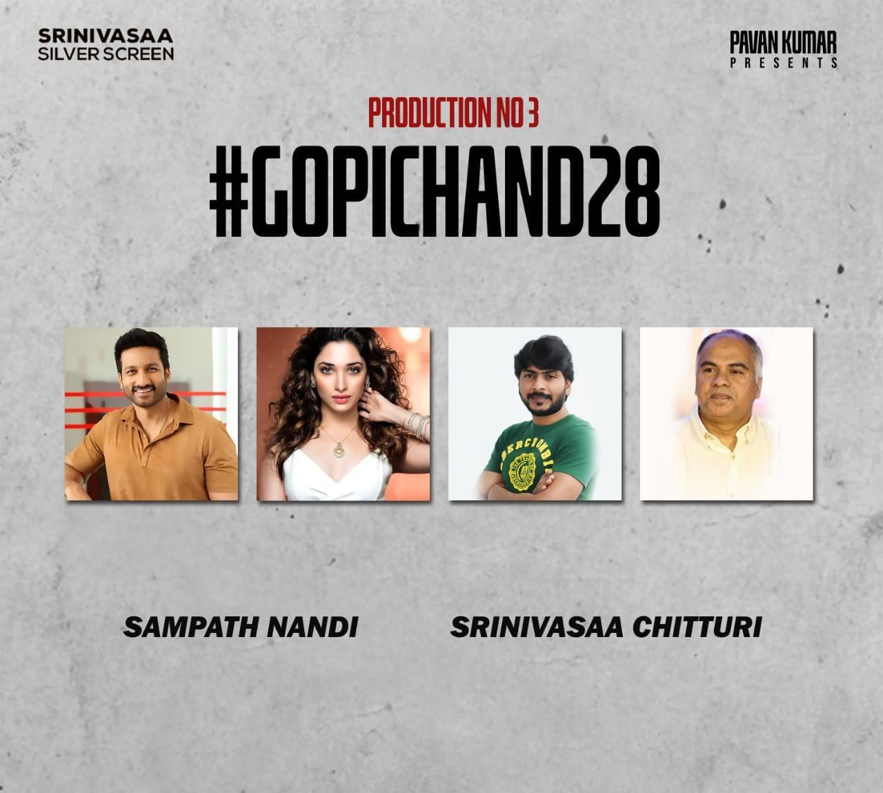 Gopichand To Romance Tamannaah In The Big Budgeted Film Directed By Sampath Nandi Produced By Srinivasaa Chitturi