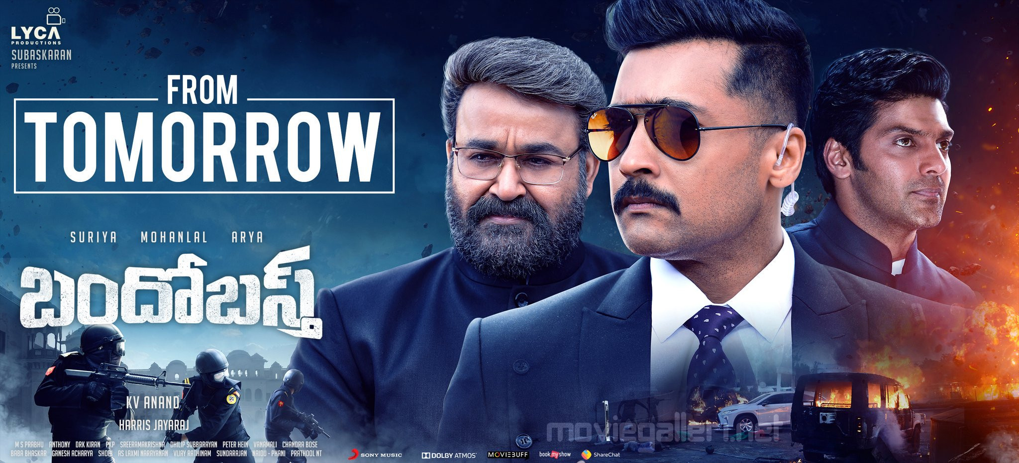 Mohanlal Suriya Arya Bandobast Movie Tomorrow Release Posters