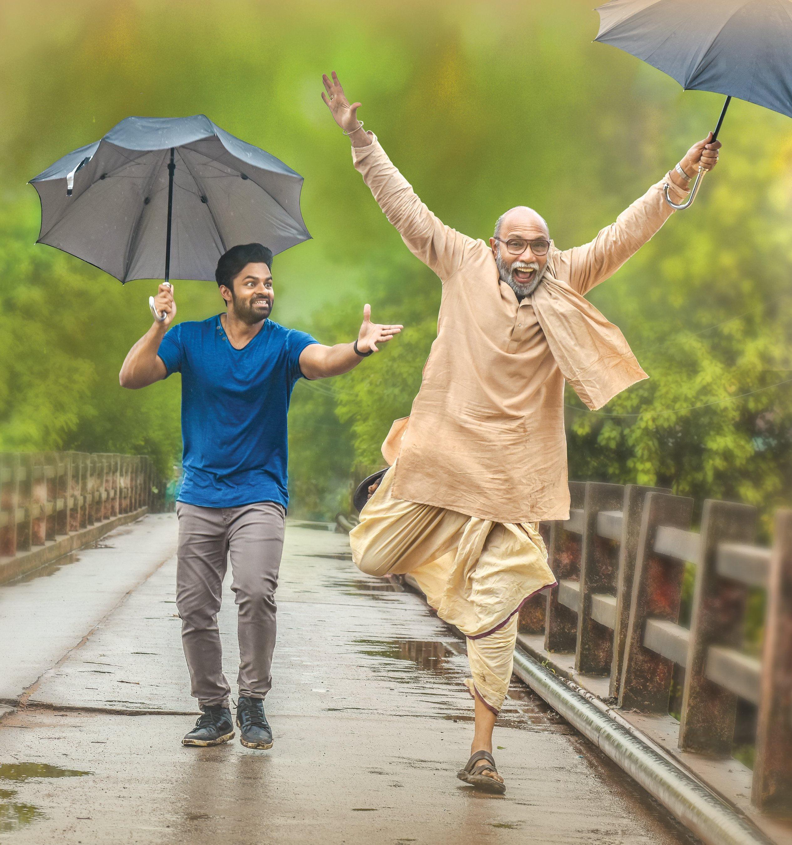 Sai Dharam Tej Sathyaraj Prathi Roju Pandage Movie First Look HD Image
