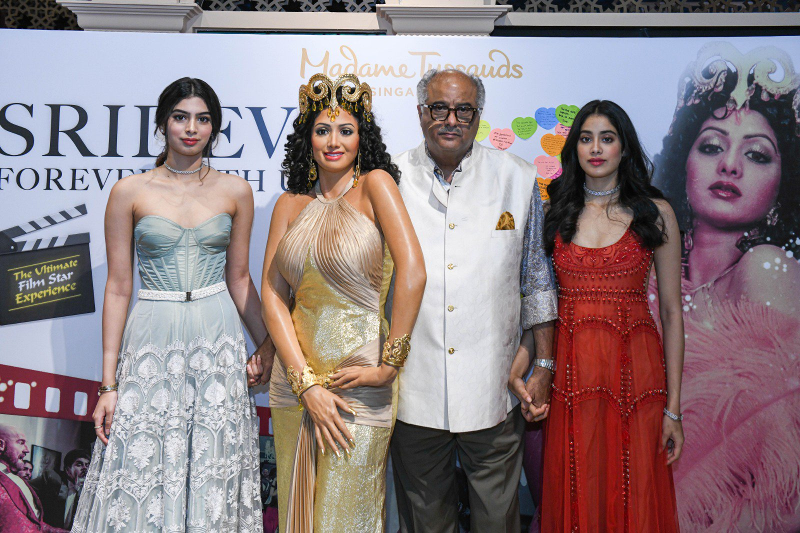 Sridevi's wax figure Boney Kapoor Janhvi Kapoor and Khushi Kapoor