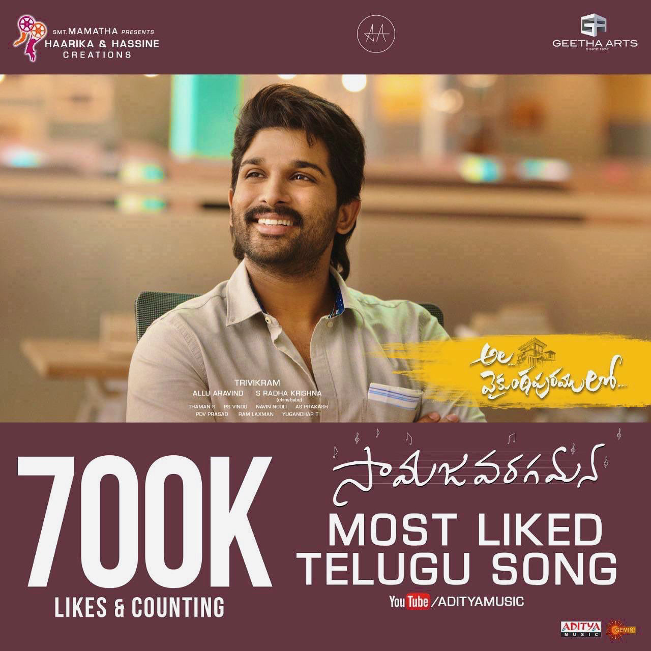 Ala Vaikunthapurramulo Samajavaragamana becomes the most liked Telugu song