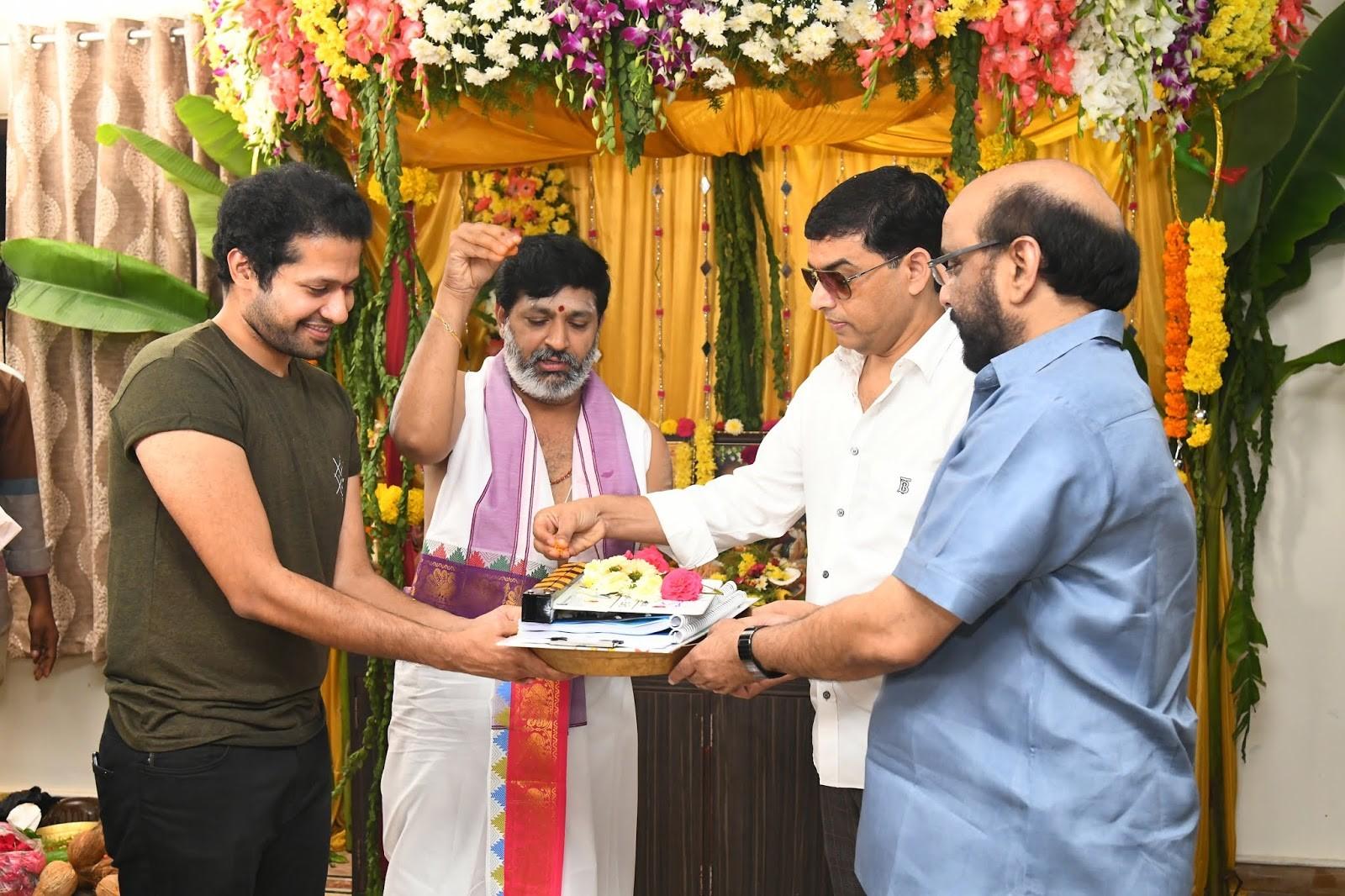 Dil Raju, S Radhakrishna @ Nithin Keerthy Suresh Rang De Movie Pooja