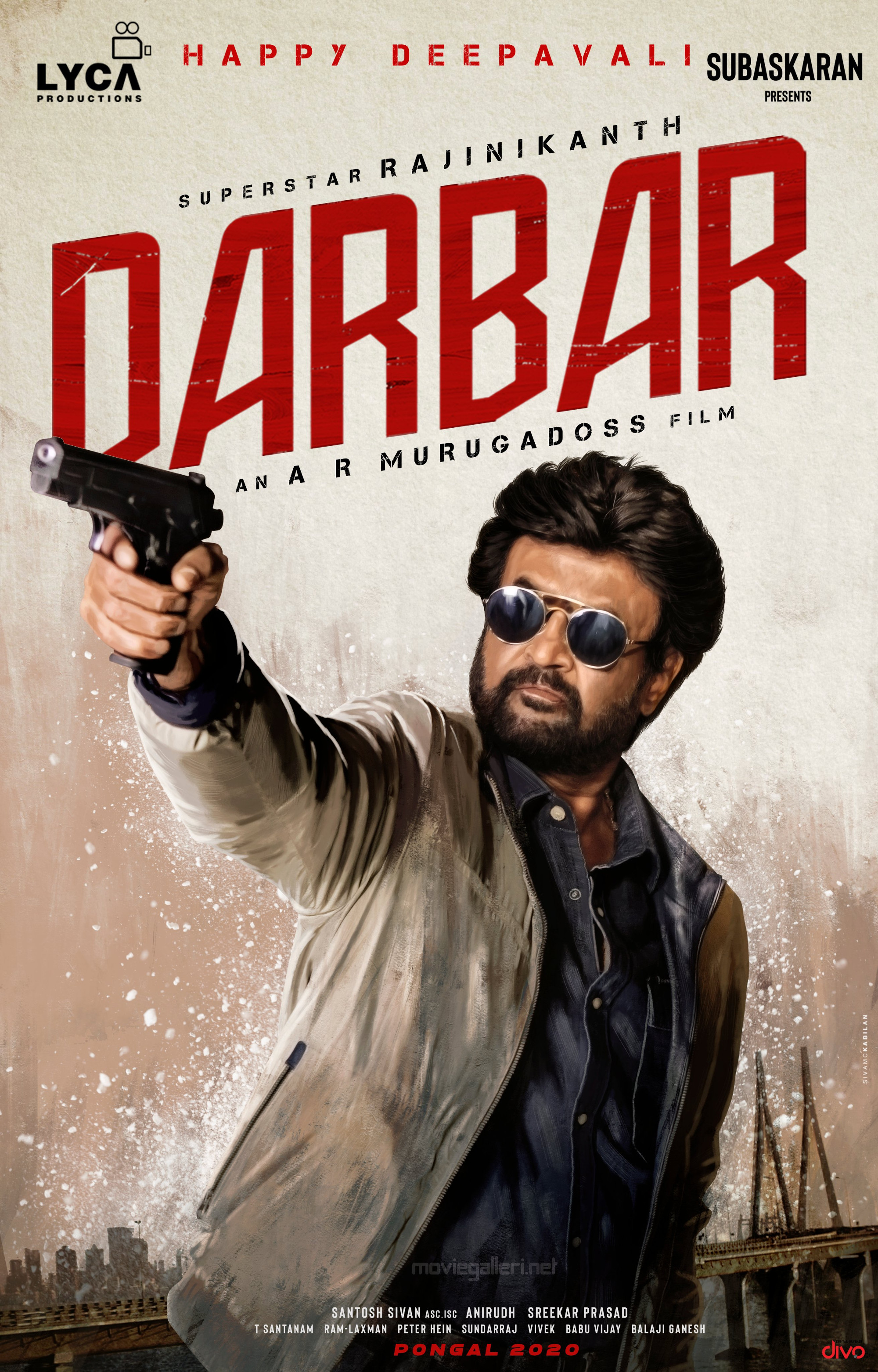 Rajinikanth Darbar Movie Deepavali Wishes Poster HD