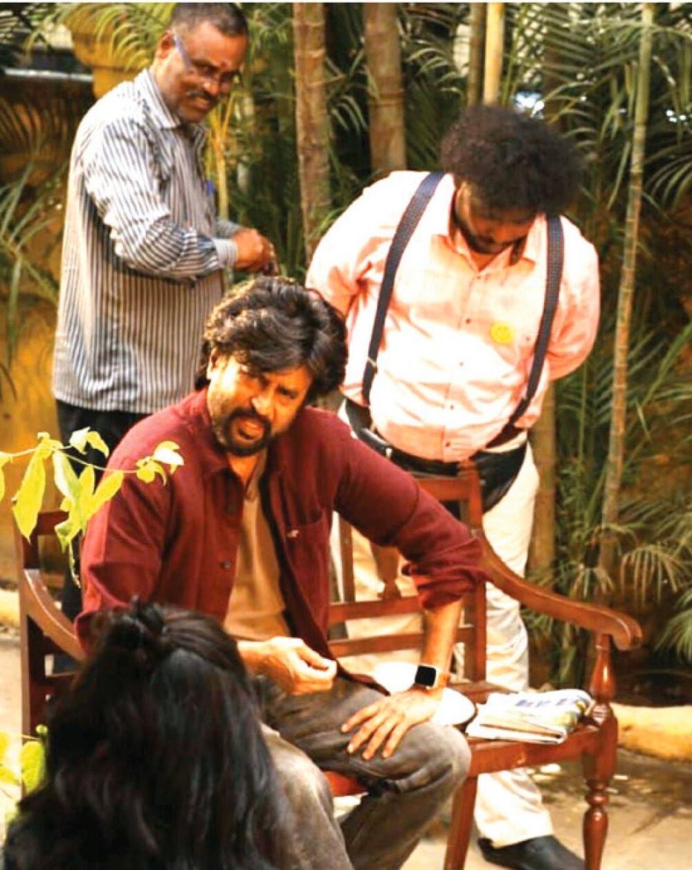 Rajinikanth Yogi Babu Darbar Movie Shooting Spot Stills