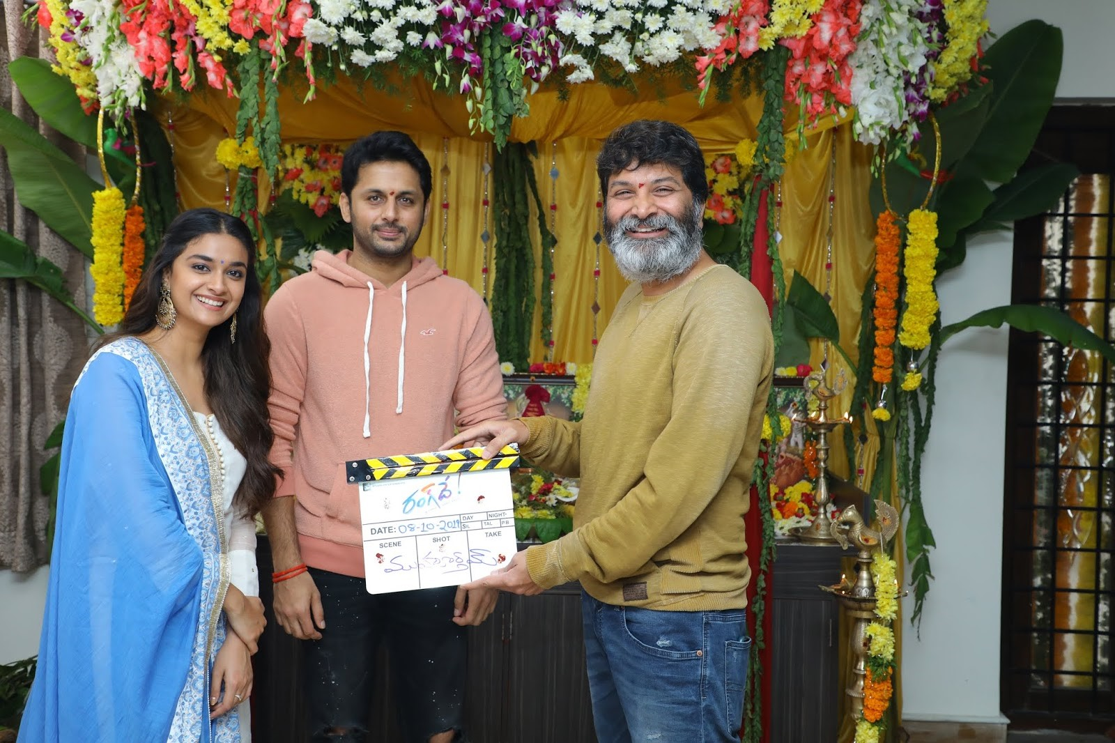 Trivikram Srinivas @ Nithin Keerthy Suresh Rang De Movie Launch