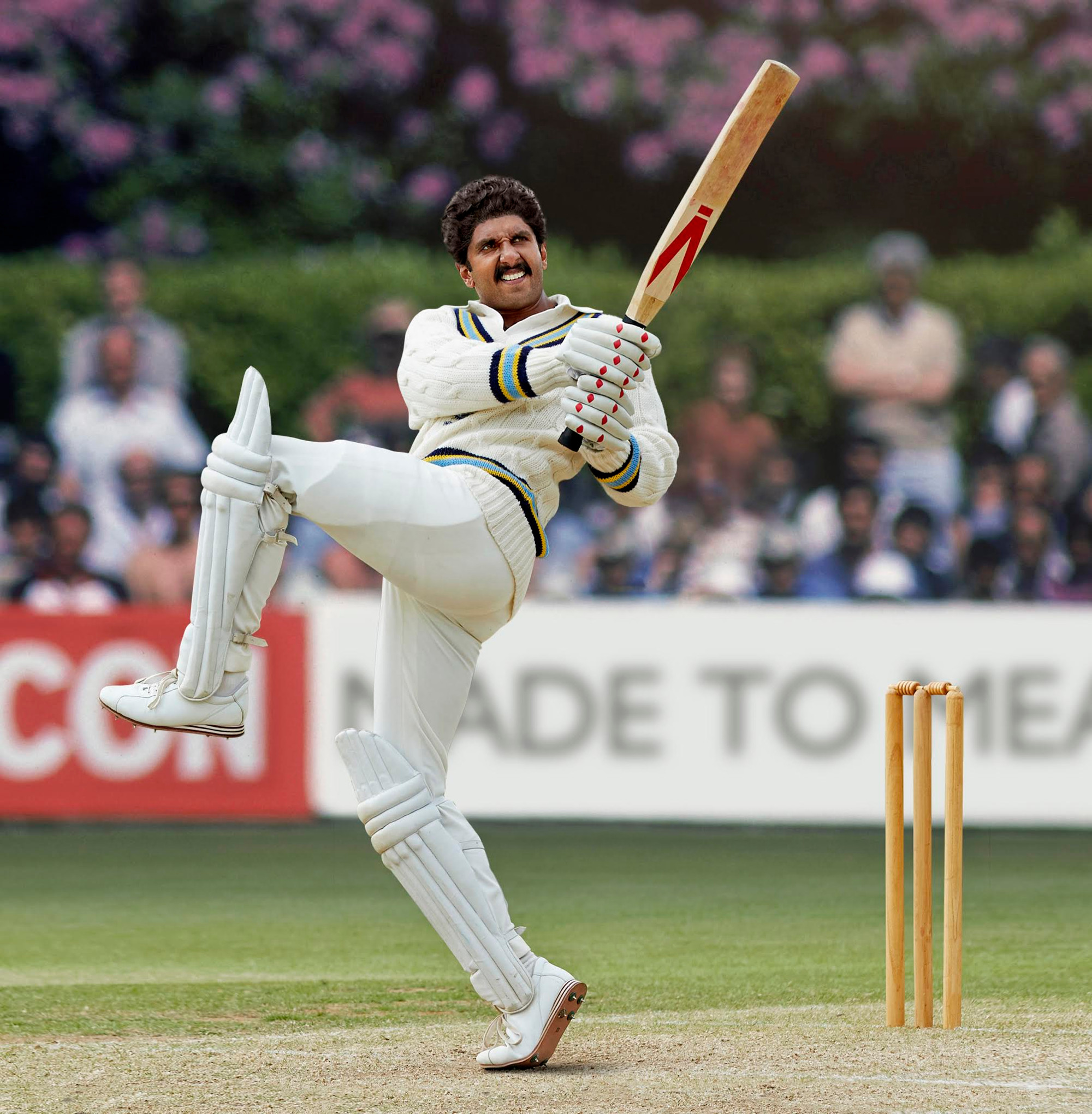 Ranveer Singh in the iconic Natraj pose, playing at the Tunbridge Wells ground where Kapil Dev scored 175 runs against Zimbabwe in the 1983 world cup semi-finals