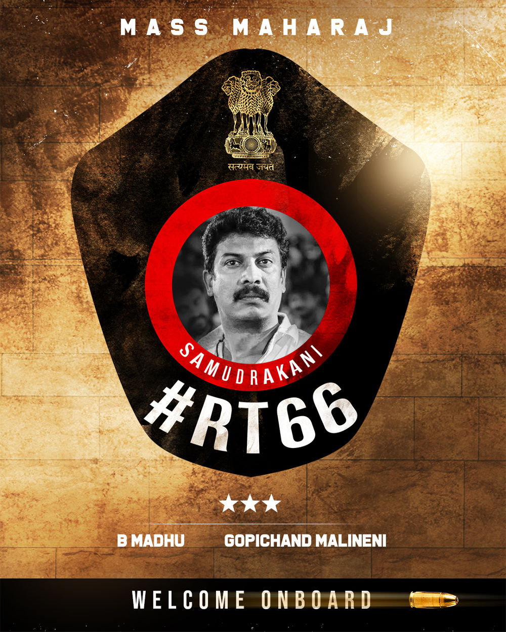Tamil actor Samuthirakani in Ravi Teja, Gopichand Malineni RT66 movie