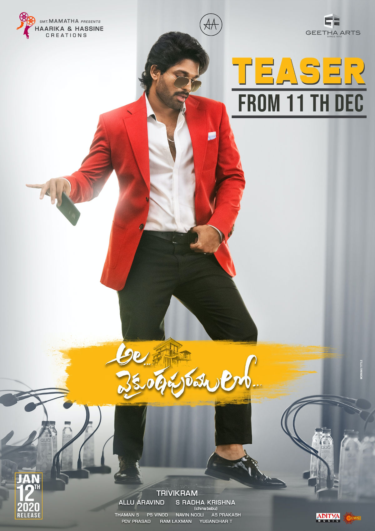 Allu Arjun Ala Vaikunthapurramloo Movie Teaser on December 11th