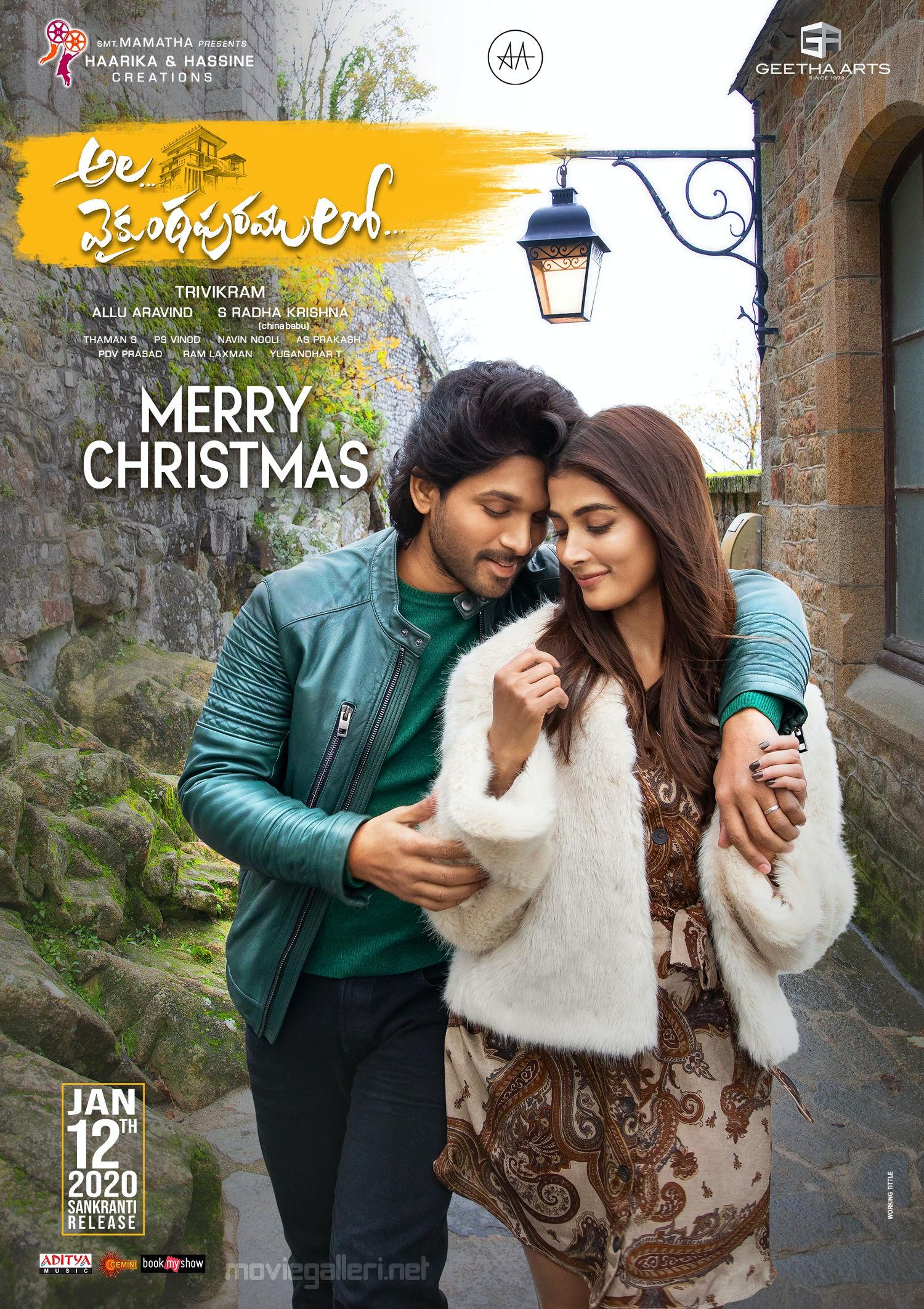 Allu Arjun Pooja Hegde Ala Vaikunthapurramloo Christmas Wishes Poster HD