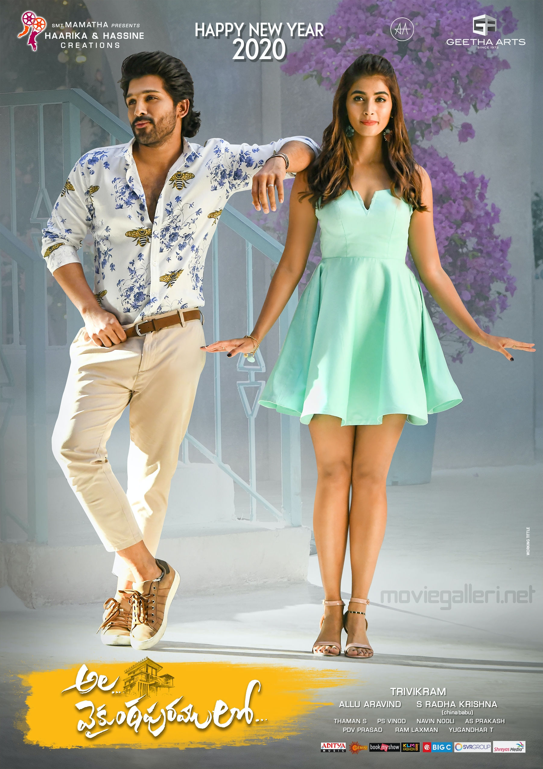 Allu Arjun Pooja Hegde Ala Vaikunthapurramuloo Movie New Year 2020 Wishes Poster HD