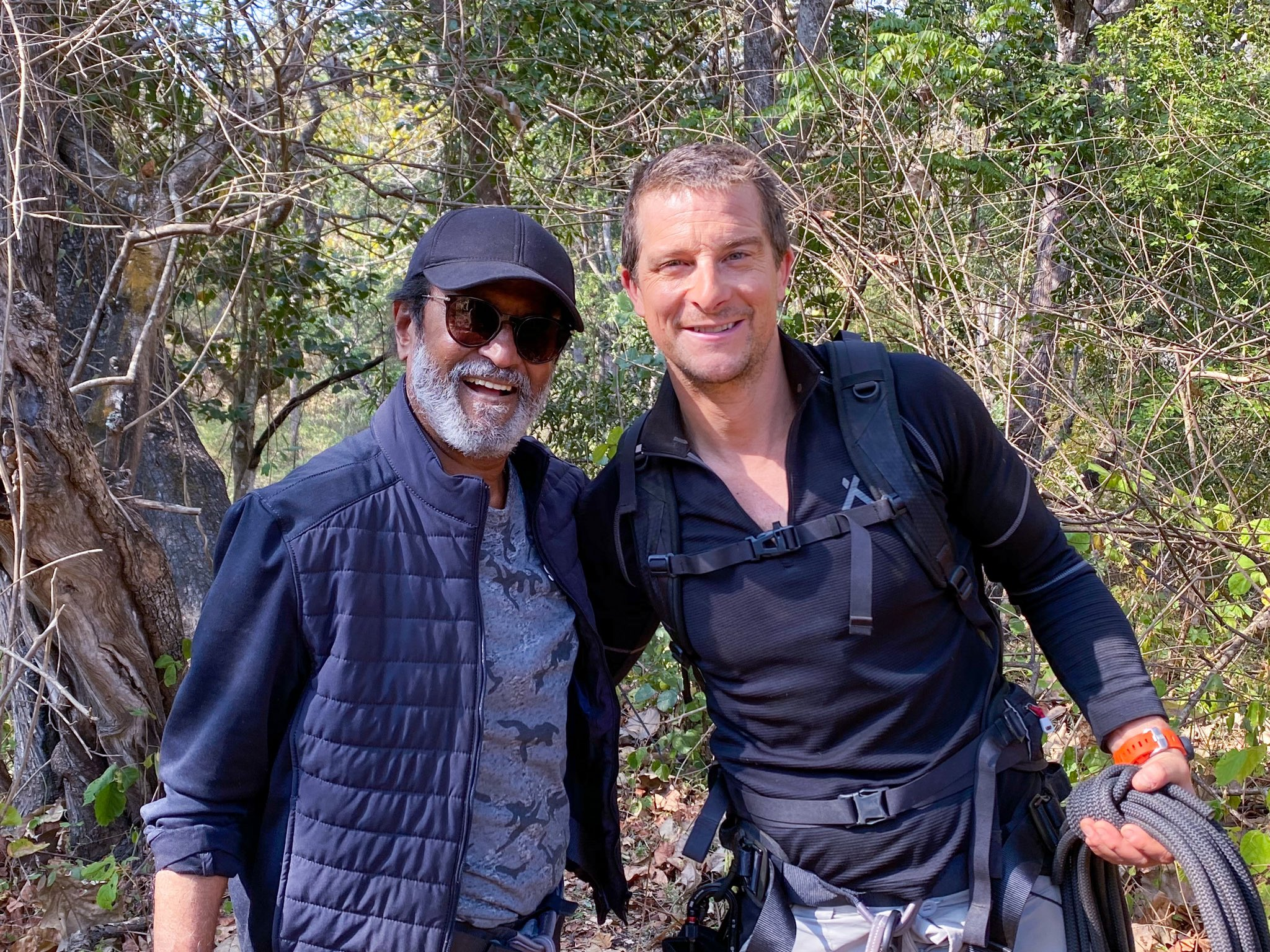 Superstar Rajinikanth poses with Bear Grylls as they shoot for Into The Wild.