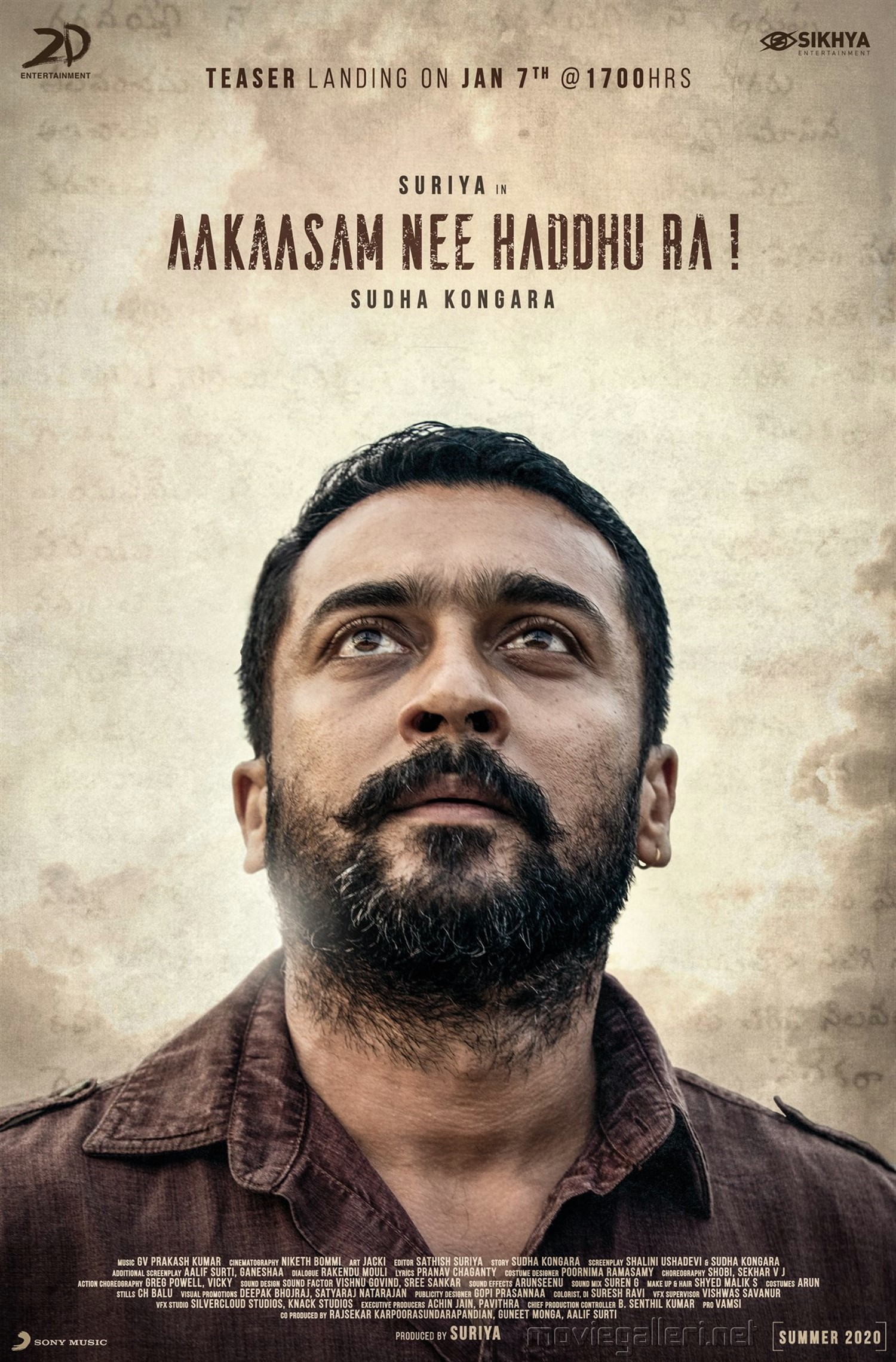 Suriya Aakaasam Nee Haddhu Ra Movie Teaser Release Jan 7th Poster HD