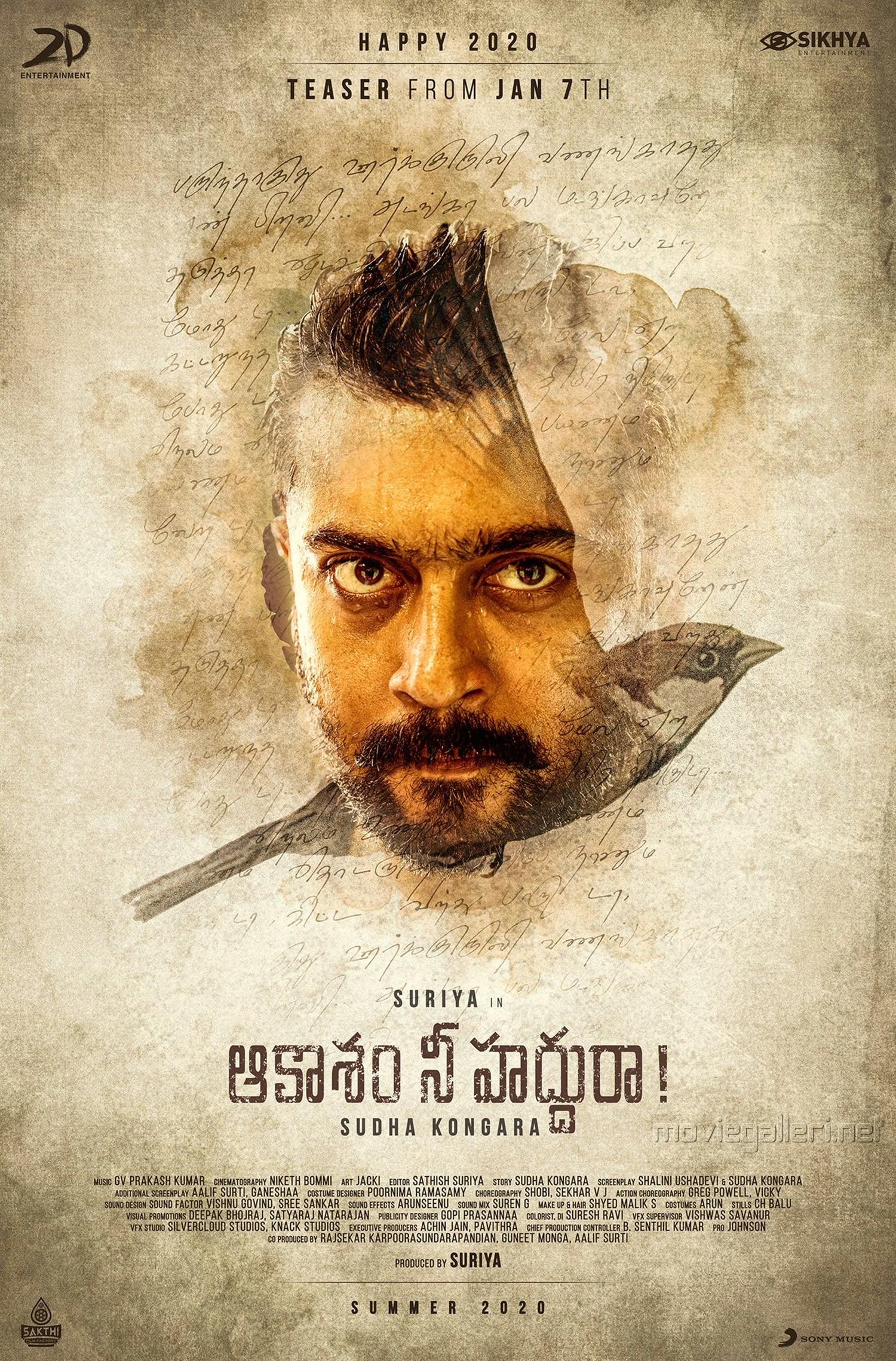 Suriya Aakaasam Nee Haddhu Ra Second Look Poster HD