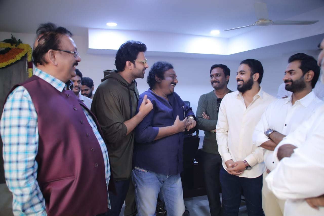 Krishnam Raju, VV Vinayak, Vamsi Krishna Reddy, Promod @ Prabhas Pooja Hegde Movie Launch Stills