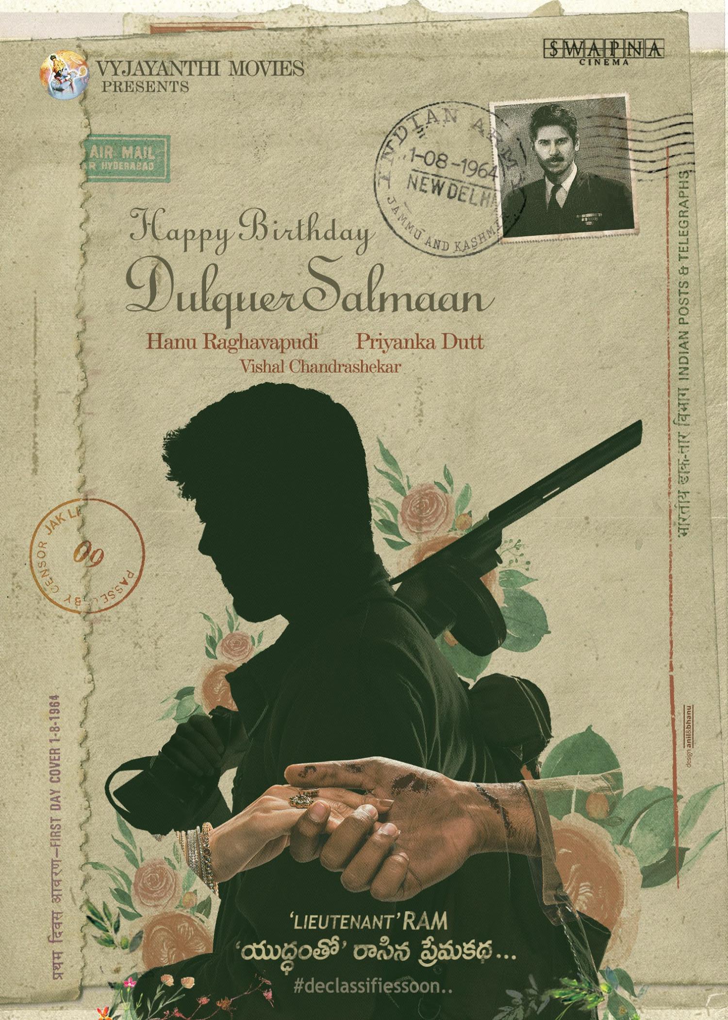Actor Dulquer Salmaan as Lieutenant Ram @ 1964 Period Love Story During War Movie Poster