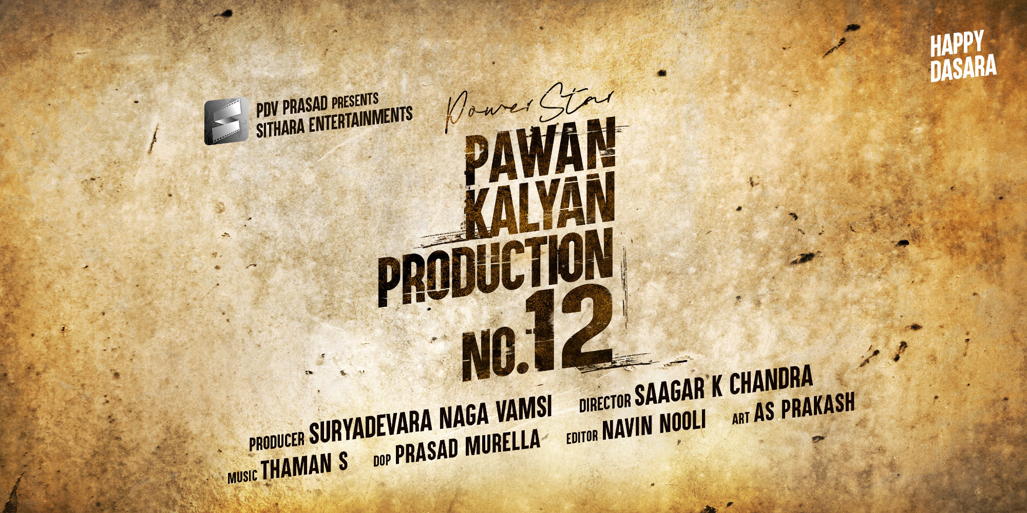 Powerstar Pawan Kalyan and Sithara Entertainments Production No 12 Film Announcement